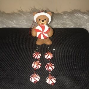 Christmas Red Starlight Peppermint Candy Earrings